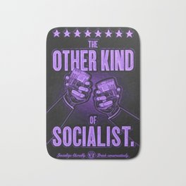 "Vintage ""The Other Kind of Socialist"" Alcoholic Lithograph Advertisement in vivid purple Bath Mat"