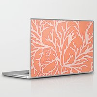 coral Laptop & iPad Skins featuring Coral by victoria negrin