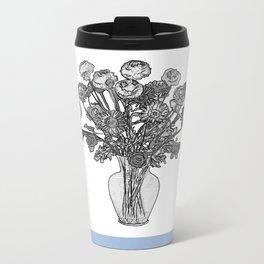 Spring Flowers in Vase on Robin's Egg Blue Background Metal Travel Mug