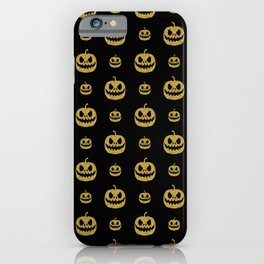 gold glitter pumpkin pattern iPhone Case