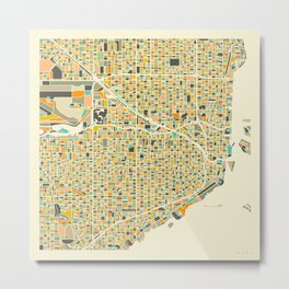 Miami Map Metal Print