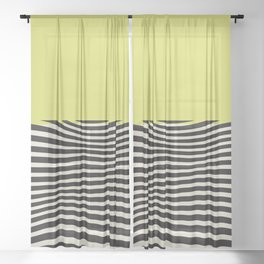 chartreuse green, Mid century modern, mid-century wall art, print, geometric wall art, abstract wall art, interior, matisse, picasso, drawing, decor, design, bauhaus, abstract, decoration, home, gift, contemporary, paint Sheer Curtain