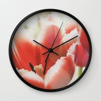 fringe Wall Clocks featuring Fringe by JudyBlue aka Triple Vision Fine Art