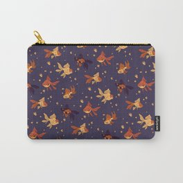 Purple Goldfish Pattern Carry-All Pouch