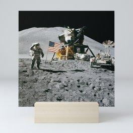 Man on the Moon with American Flag Mini Art Print