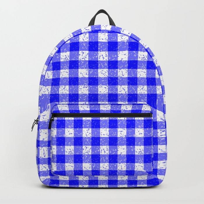 Gingham Blue and White Pattern Backpack