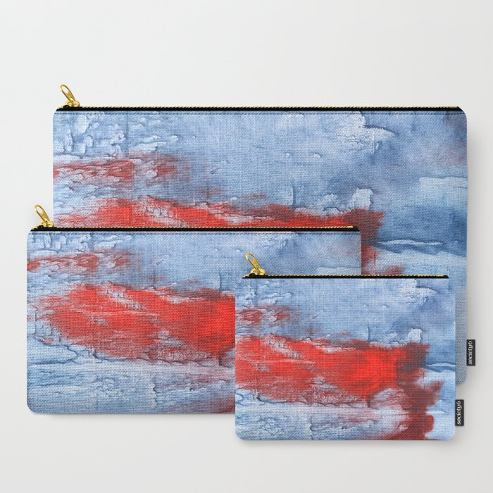 Red blue steel colorful wash drawing design Carry-All Pouch