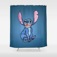 stitch Shower Curtains featuring Stitch by DROIDMONKEY