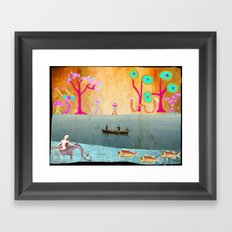 Row Boating to Monster Island Framed Art Print