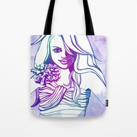 outer space Tote Bags featuring Outer space by Lindella