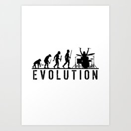 The Evolution Of Man And Drums Art Print