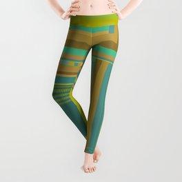 Urban Cactus, graphic design in green tan aquamarine brown teal blue Leggings