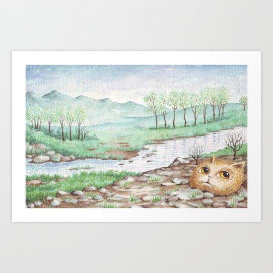 River Cat Art Print