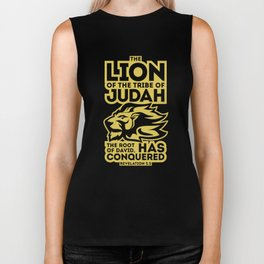 The Lion of the tribe of Judah, the Root of David, has triumphed. Biker Tank