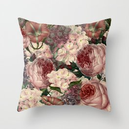 Vintage & Shabby Chic Pink Dark Floral Roses Lilacs Flowers Watercolor Pattern Throw Pillow