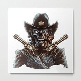 crazy man tow guns Metal Print