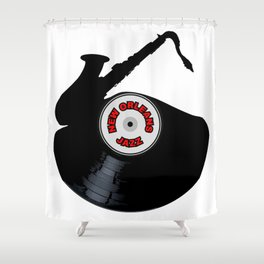 New Orleans Jazz Music Silhouette Record Shower Curtain