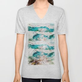 Abstract Waves Splatter Unisex V-Neck