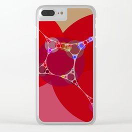 chantal - bright pink abstract design with red white and blue Clear iPhone Case