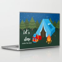 backpack Laptop & iPad Skins featuring Camping blue tent by Juliana RW