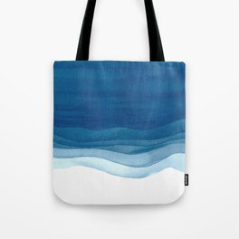 Watercolor blue waves Tote Bag