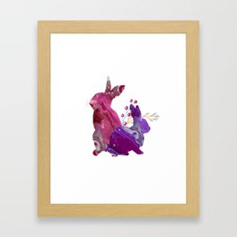 Easter Bunny Fluid Marble Acrylic Art Spring Purple Pink Rabbit Framed Art Print
