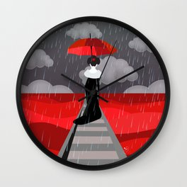 Japanese in red field Wall Clock