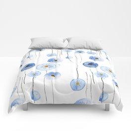 blue abstract dandelion 2 Comforters