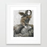 inner demons Framed Art Prints featuring Demons by Jana Heidersdorf Illustration