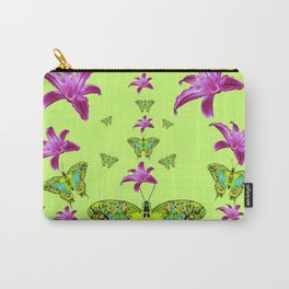 LIME COLOR PURPLE LILIES GREEN MOTHS Carry-All Pouch