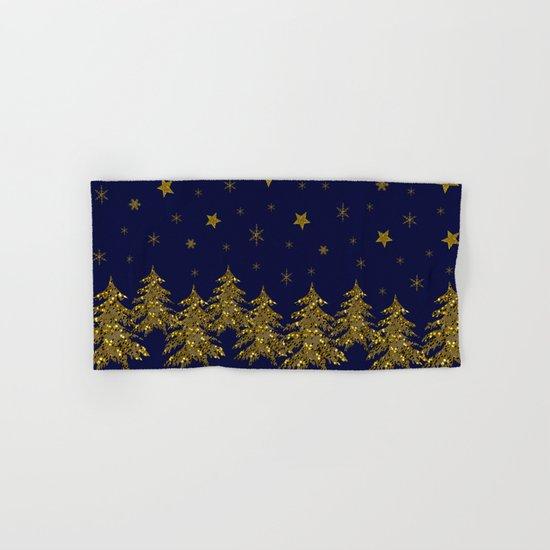 Sparkly Christmas tree, moon, stars Hand & Bath Towel