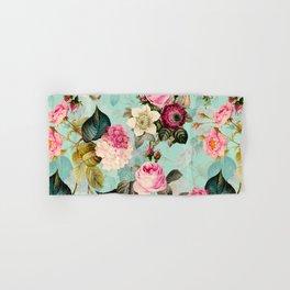 Vintage & Shabby Chic - Summer Teal Roses Flower Garden Hand & Bath Towel