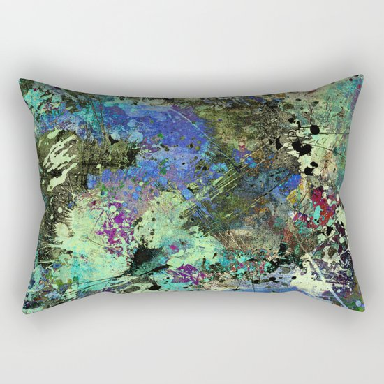 Deep In Thought - Black, blue, purple, white, abstract, acrylic paint splatter artwork Rectangular Pillow