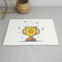 Gold Trophy Icon Golden Goblet With Star Reward Icon White Isolated Rug