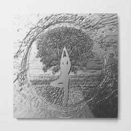 Yoga Tree in Chrome Metal Print