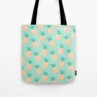 pineapple Tote Bags featuring Pineapple   by Sibylline