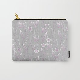 Gray lilac floral pattern . Carry-All Pouch
