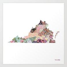Virginia map Art Print