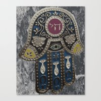 jewish Canvas Prints featuring Jewish Hamsa by Debra Slonim Art & Design