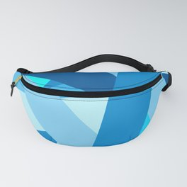 Retro Blue Mid-Century Minimalist Geometric Line Abstract Art Fanny Pack