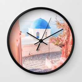Santorini Greece Mamma Mia pink travel photography in hd. Wall Clock