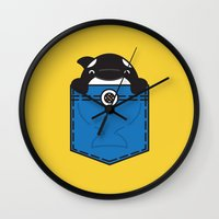 pocket Wall Clocks featuring Pocket Whale by Steven Toang