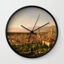 View of the Duomo and Florence, Italy by Thomas Cole Wall Clock