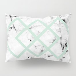 White Marble Concrete Look Mint Green Geometric Squares Pillow Sham