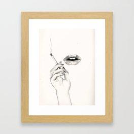 Cigarette Lips Framed Art Print