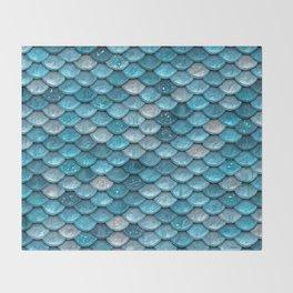 Luxury Turquoise Mermaid Sparkling Glitter Scales - Mermaidscales Throw Blanket