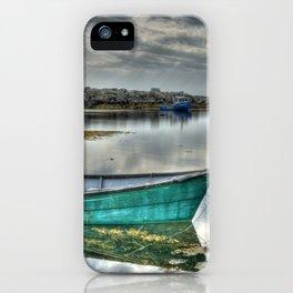 Blue Rocks Green Boat iPhone Case
