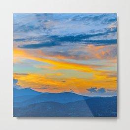 Utah Wasatch Mountains Park City Sunset Blue Yellow Sky Metal Print