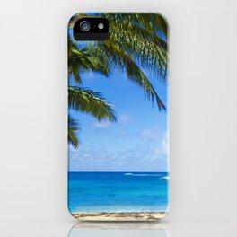 Coconut Palm tree on the sandy Poipu beach in Hawaii, Kauai iPhone Case