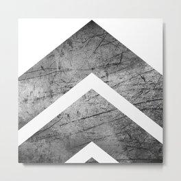 Grey And White Modern Geometric Grunge Chevrons Metal Print